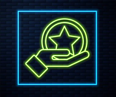 Glowing neon line USA Independence day icon isolated on brick wall background. 4th of July. United States of America country.  Vector.