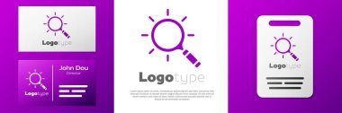 Logotype Magnifying glass icon isolated on white background. Search, focus, zoom, business symbol. Logo design template element. Vector.