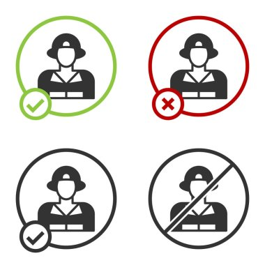 Black Firefighter icon isolated on white background. Circle button. Vector. icon