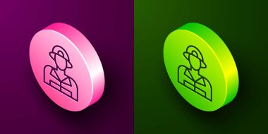 Isometric line Firefighter icon isolated on purple and green background. Circle button. Vector. icon