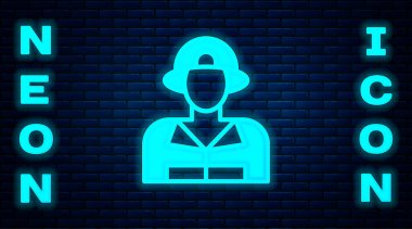Glowing neon Firefighter icon isolated on brick wall background.  Vector. icon