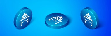 Isometric Firefighter helmet or fireman hat icon isolated on blue background. Blue circle button. Vector. icon