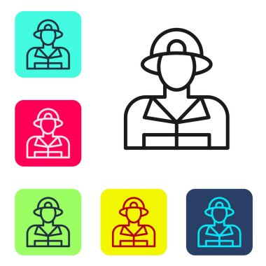 Black line Firefighter icon isolated on white background. Set icons in color square buttons. Vector. icon