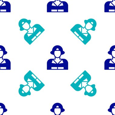 Blue Firefighter icon isolated seamless pattern on white background.  Vector. icon