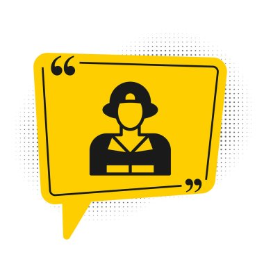 Black Firefighter icon isolated on white background. Yellow speech bubble symbol. Vector. icon
