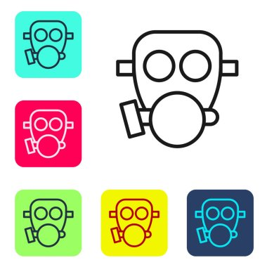 Black line Gas mask icon isolated on white background. Respirator sign. Set icons in color square buttons. Vector. icon