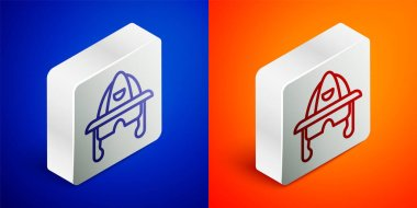 Isometric line Firefighter helmet or fireman hat icon isolated on blue and orange background. Silver square button. Vector. icon