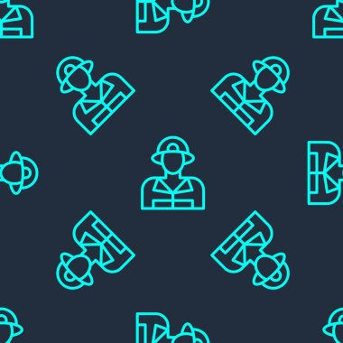 Green line Firefighter icon isolated seamless pattern on blue background.  Vector. icon