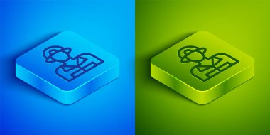 Isometric line Firefighter icon isolated on blue and green background. Square button. Vector. icon
