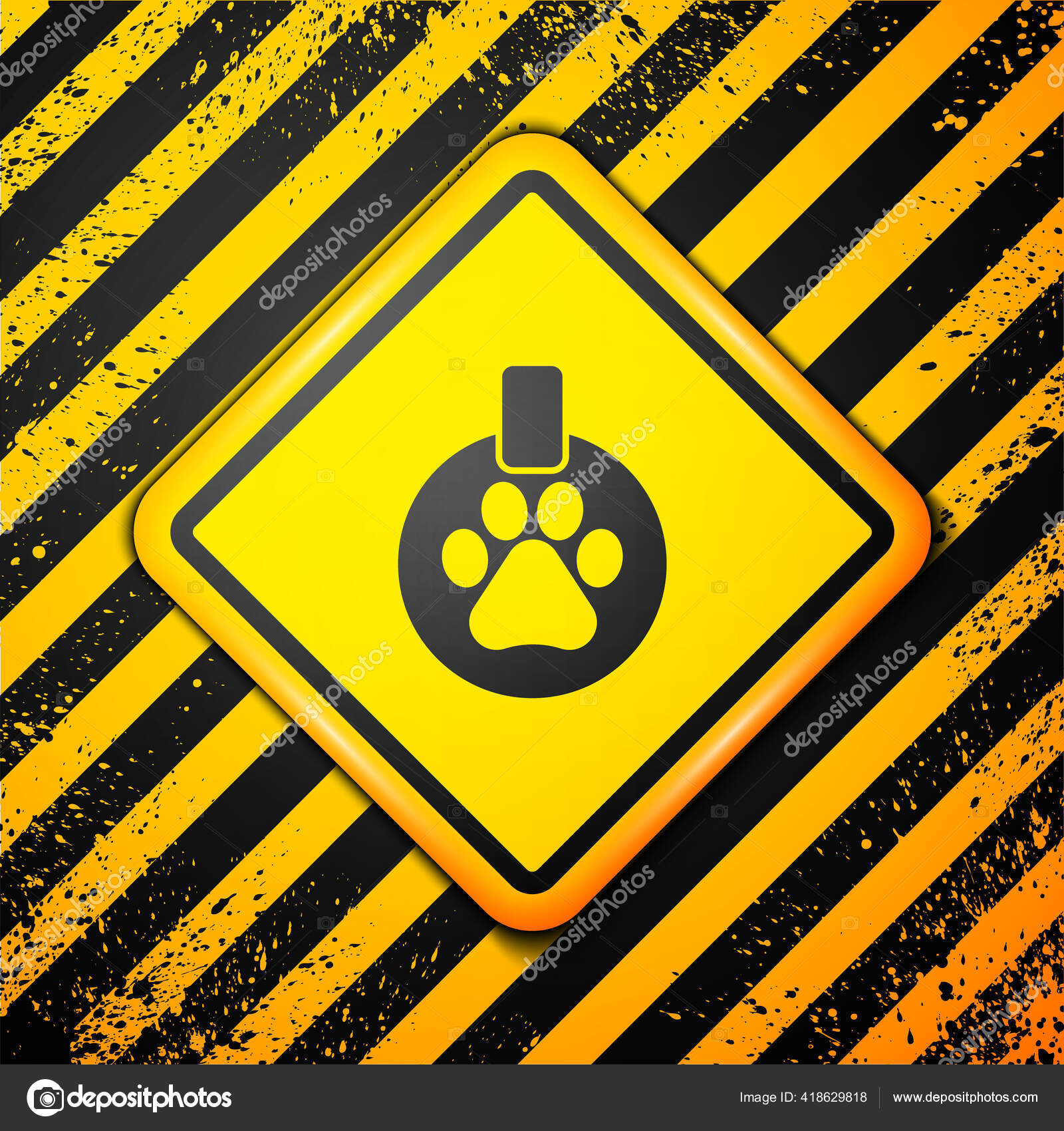 Black Paw Print Over the Collar