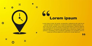 Black Location with clock icon isolated on yellow background.  Vector Illustration. icon
