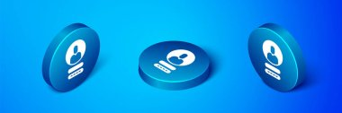 Isometric Create account screen icon isolated on blue background. Blue circle button. Vector Illustration. icon