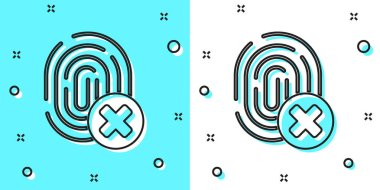 Black line Cancelled fingerprint icon isolated on green and white background. Access denied for user concept. Error, fraud. Identification sign. Touch id. Random dynamic shapes. Vector. icon