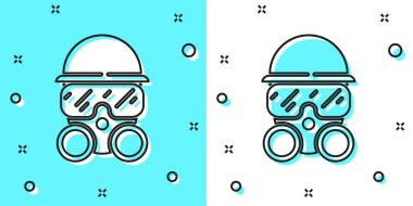 Black line Gas mask icon isolated on green and white background. Respirator sign. Random dynamic shapes. Vector. icon
