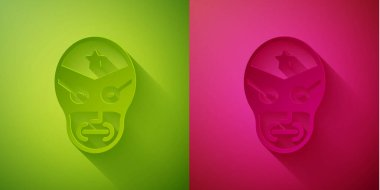 Paper cut Mexican wrestler icon isolated on green and pink background. Paper art style. Vector. icon