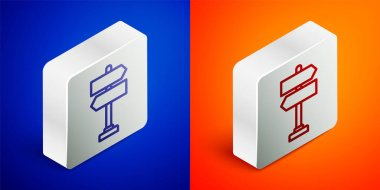 Isometric line Road traffic sign. Signpost icon isolated on blue and orange background. Pointer symbol. Isolated street information sign. Direction sign. Silver square button. Vector Illustration. icon