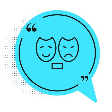 Black line Comedy and tragedy theatrical masks icon isolated on white background. Blue speech bubble symbol. Vector. icon