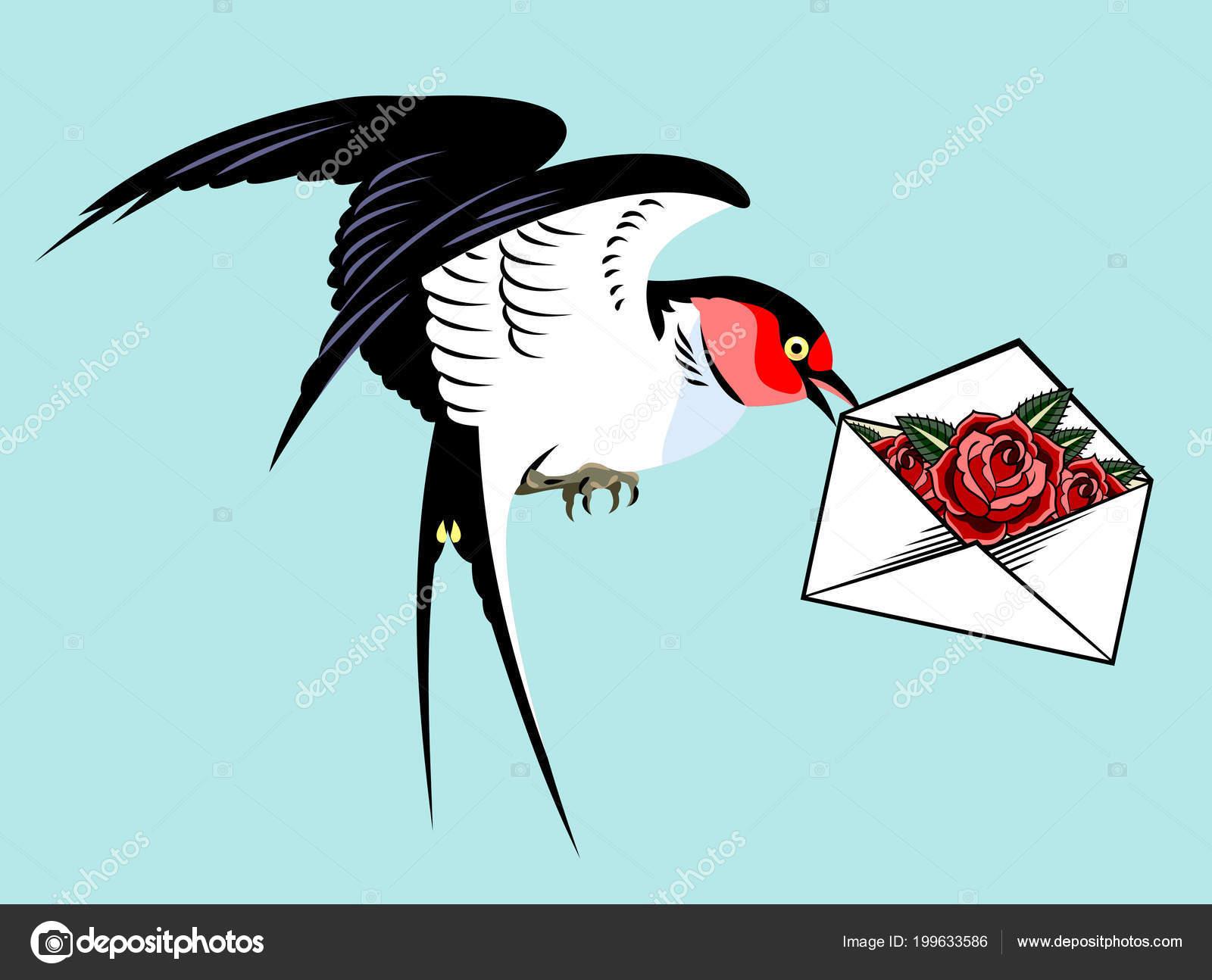 Avalez Transportant Une Enveloppe Avec Une Lettre Une Rose Style