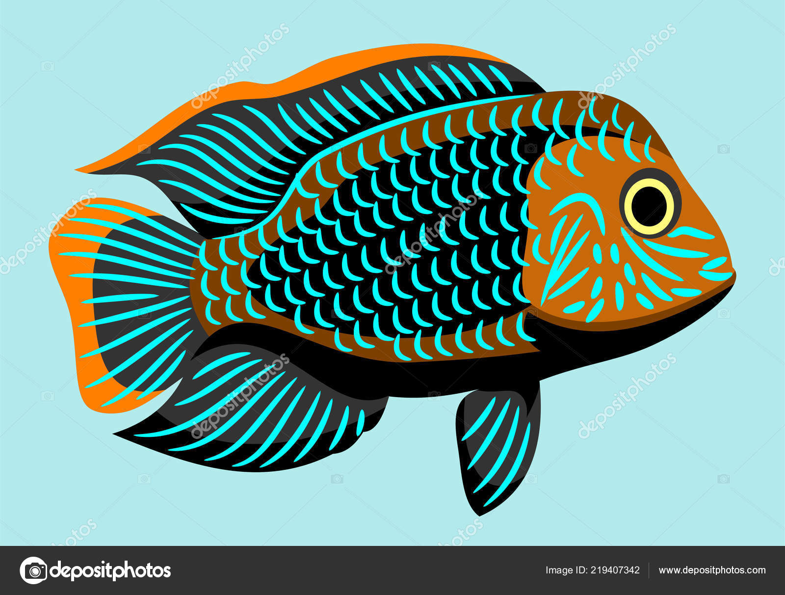 Bright Aquarium Fish Vector Drawing Stock Vector C Imagoaiva