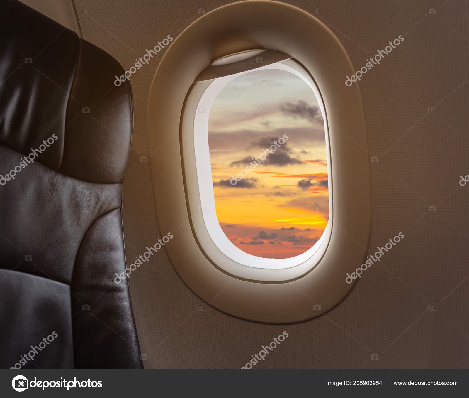Image Aircraft Seat Plane Window Beautiful Blue Sky Background