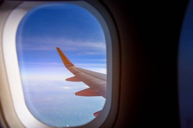 Image of view from airplane window to see sky. stock vector
