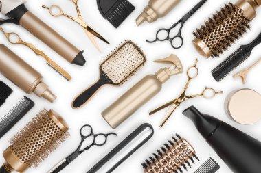 Full frame of professional hair dresser tools on white background stock vector