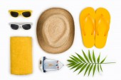Tropical beach items and travel symbols isolated on white background