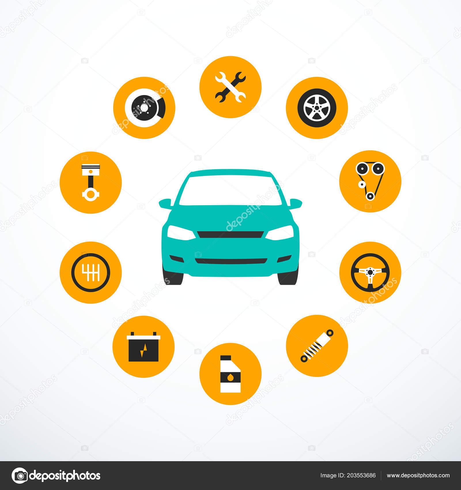 concept car service set car service icons vector illustration