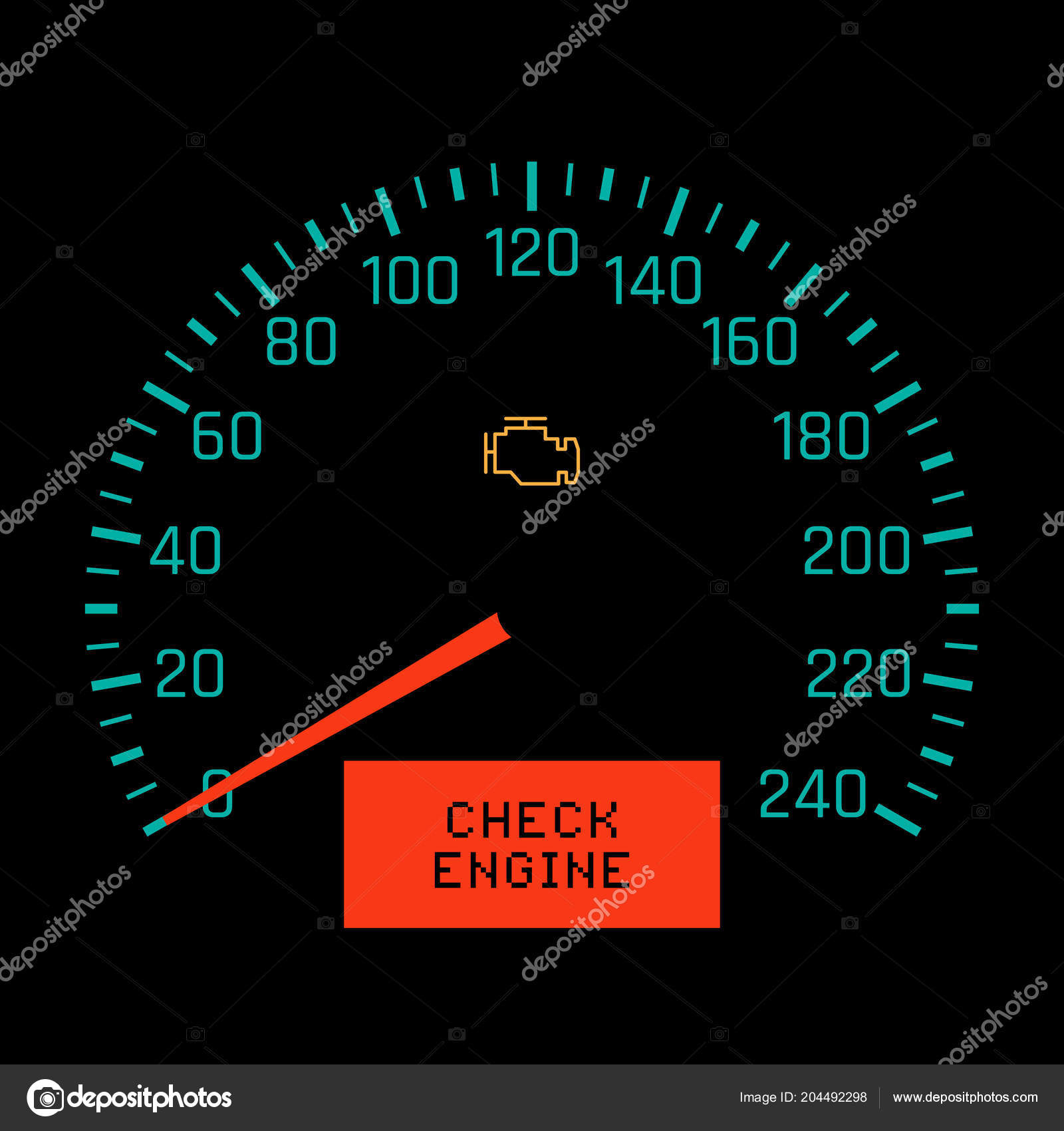 Check Engine Light On Speedometer Display. Vector Illustration U2014 Vector By  Freshwater