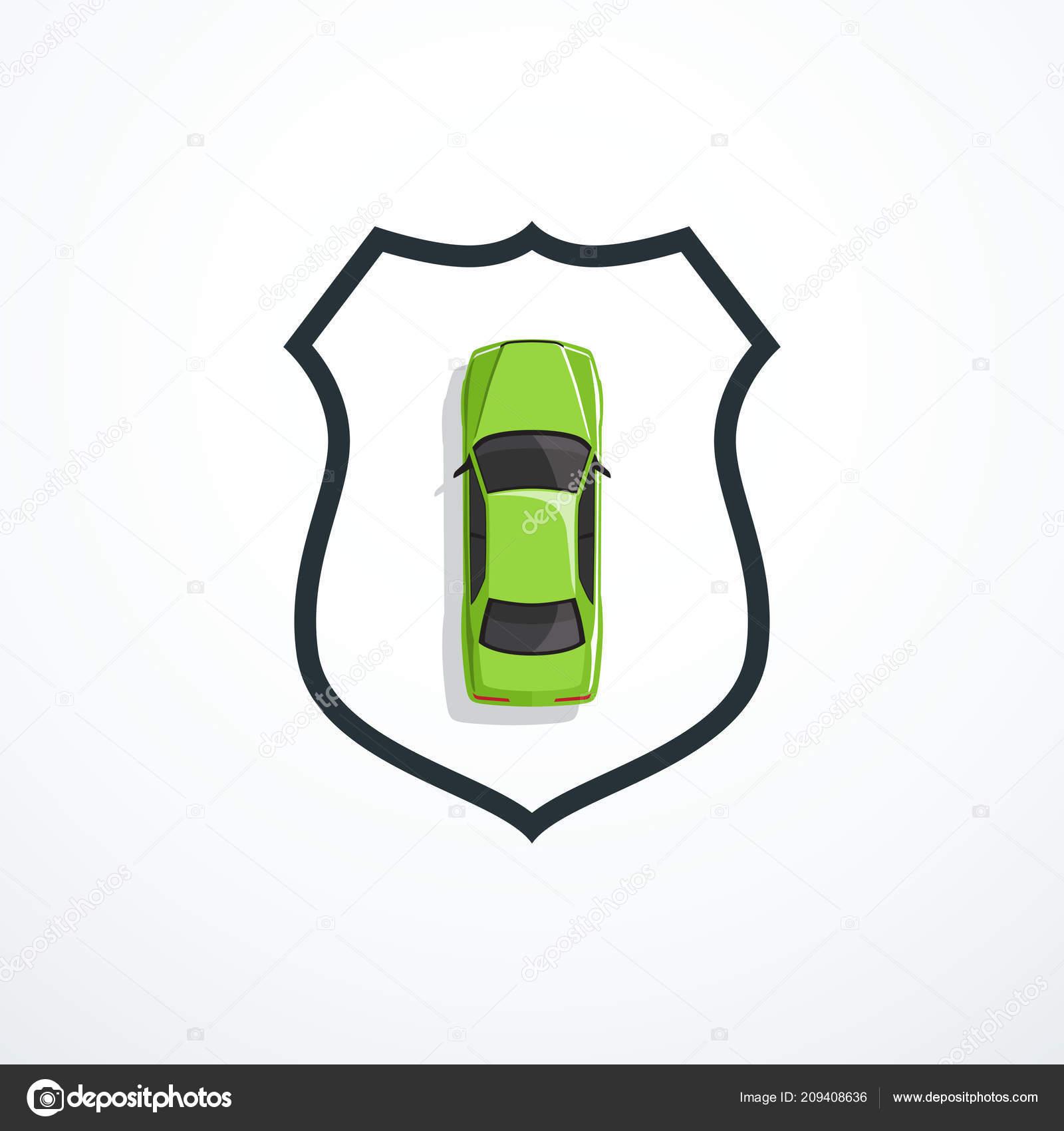 Grunes Auto Und Schild Auto Sicherheit Versicherung Konzept Vektor