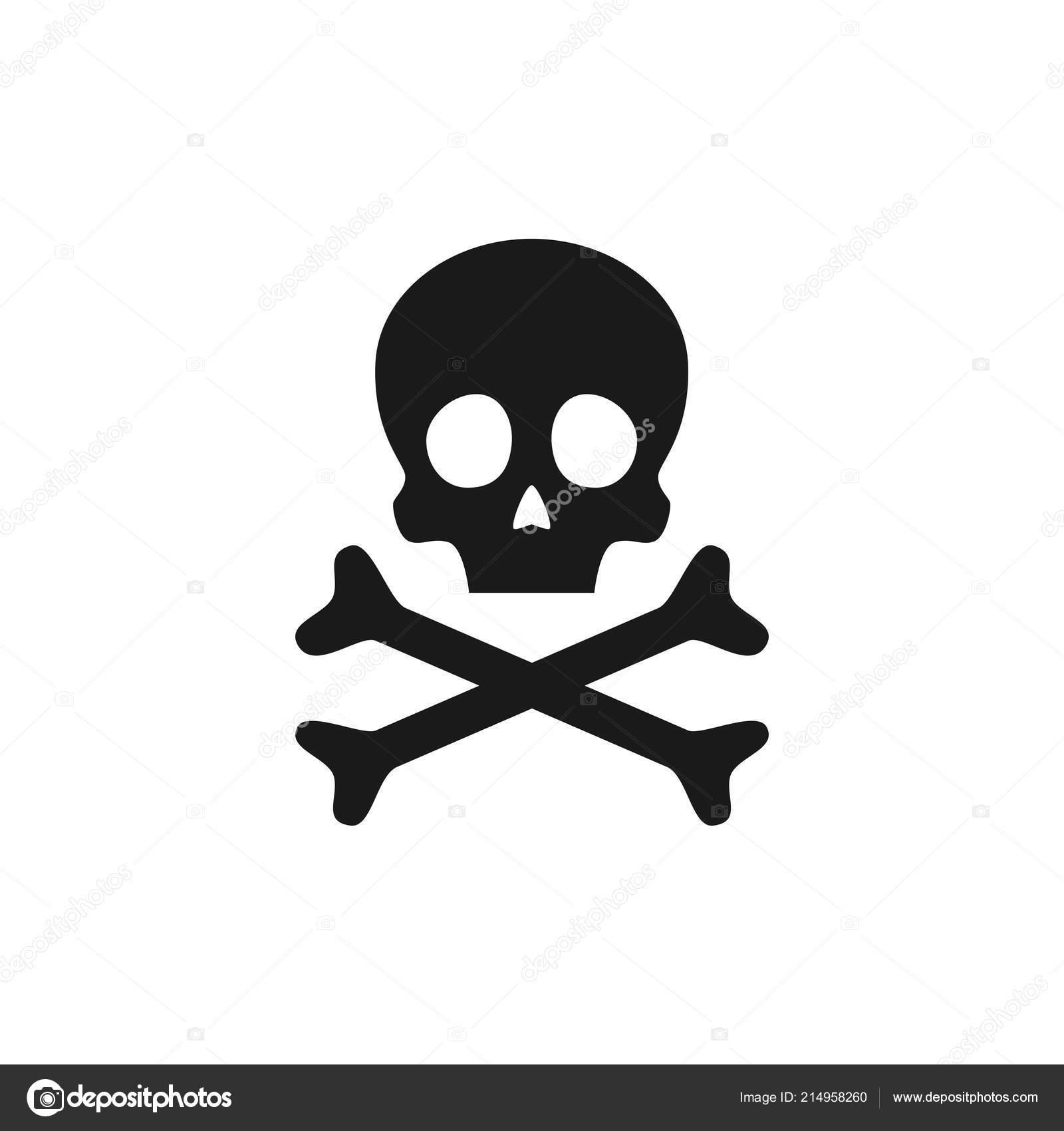 Skull Crossbones Icon Poison Warning Sign Vector Illustration