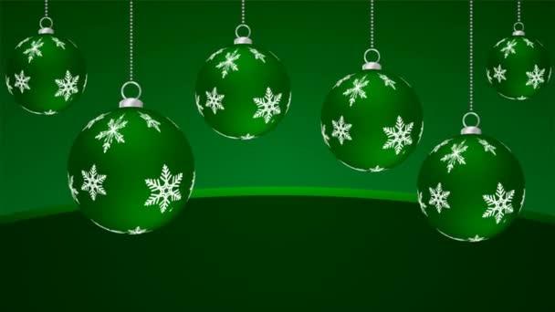 hängen weihnachten grüne kugeln, kunst video illustration.
