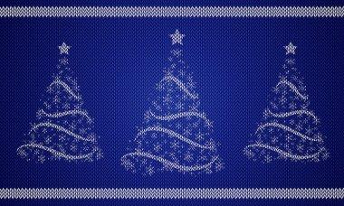 Knitted Fir Trees, vector art illustration holiday.