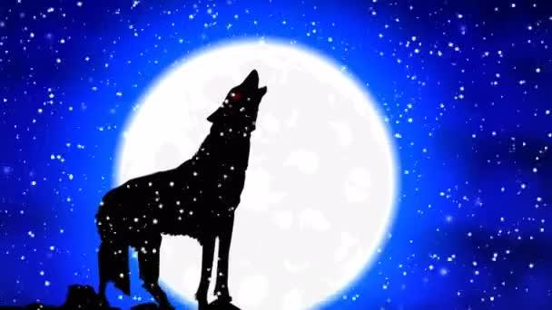 A Farkas a hóban üvölt a telihold, művészet videó illusztráció:.