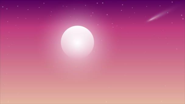 Moon and comet on violet pink sky, art video illustration.