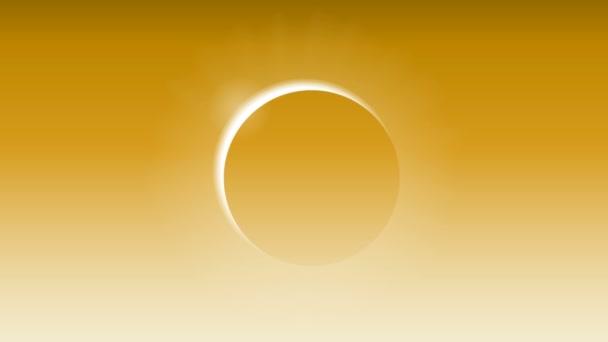 Sonnenfinsternis am orangen Himmel, Vektorkunst-Illustration.