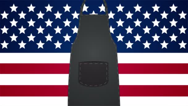 Apron and USA flag for workers day, art video illustration.