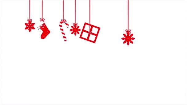 Vánoční červená ozdoba, umělecké video ilustrace.