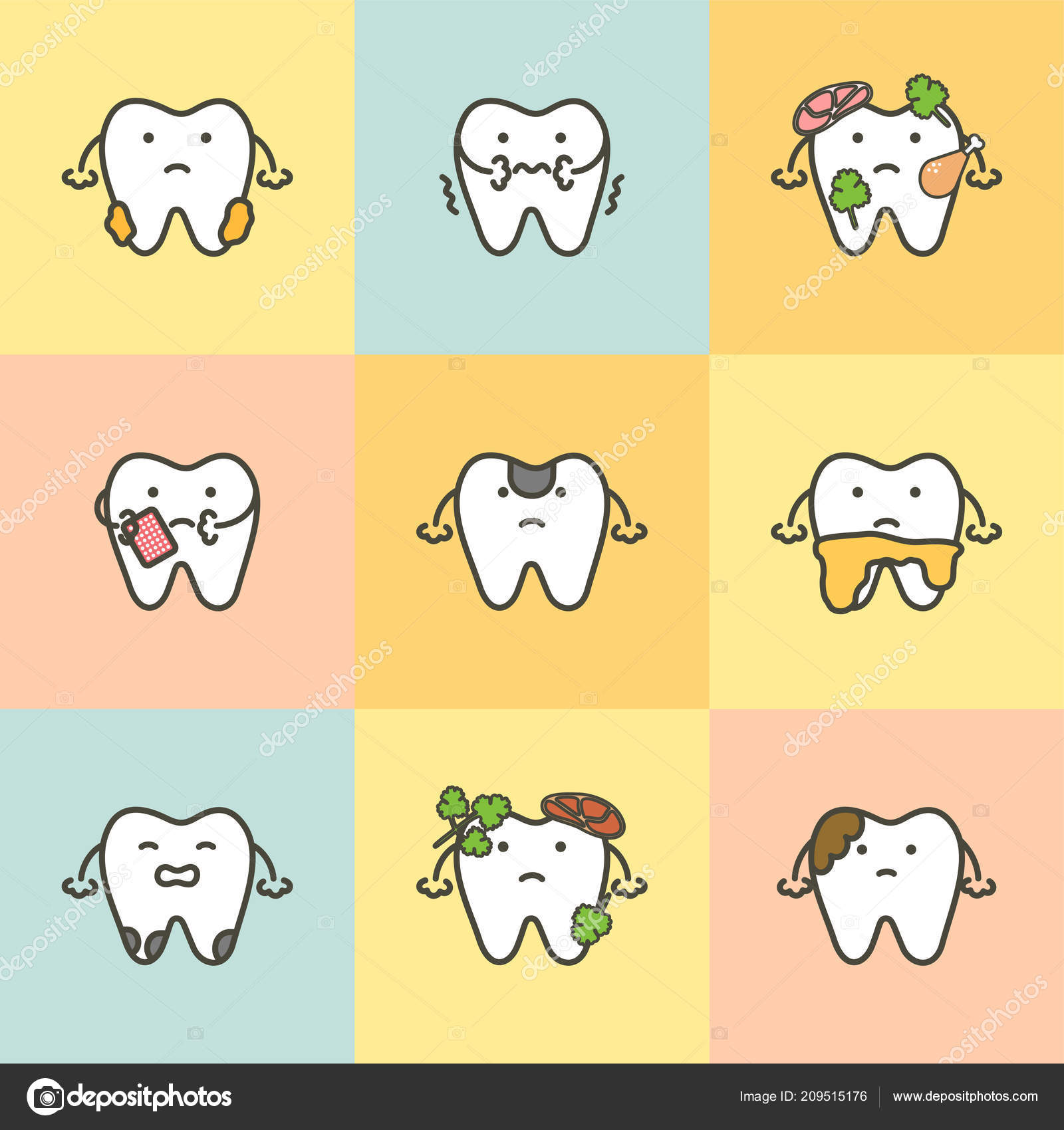 Sistema Cuidado Dental Elemento Concepto Diente Caries Placa