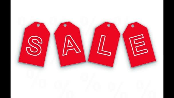 dynamische rote Etiketten mit der Aufschrift - Verkauf. Konzeption Online-Shopping, Präsentation.