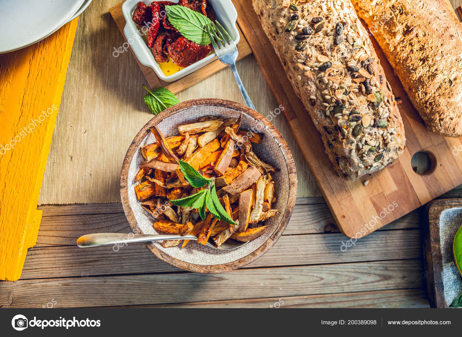 Bowl Grilled Sweet Potatoes Wooden Garden Table — Stock Photo ...