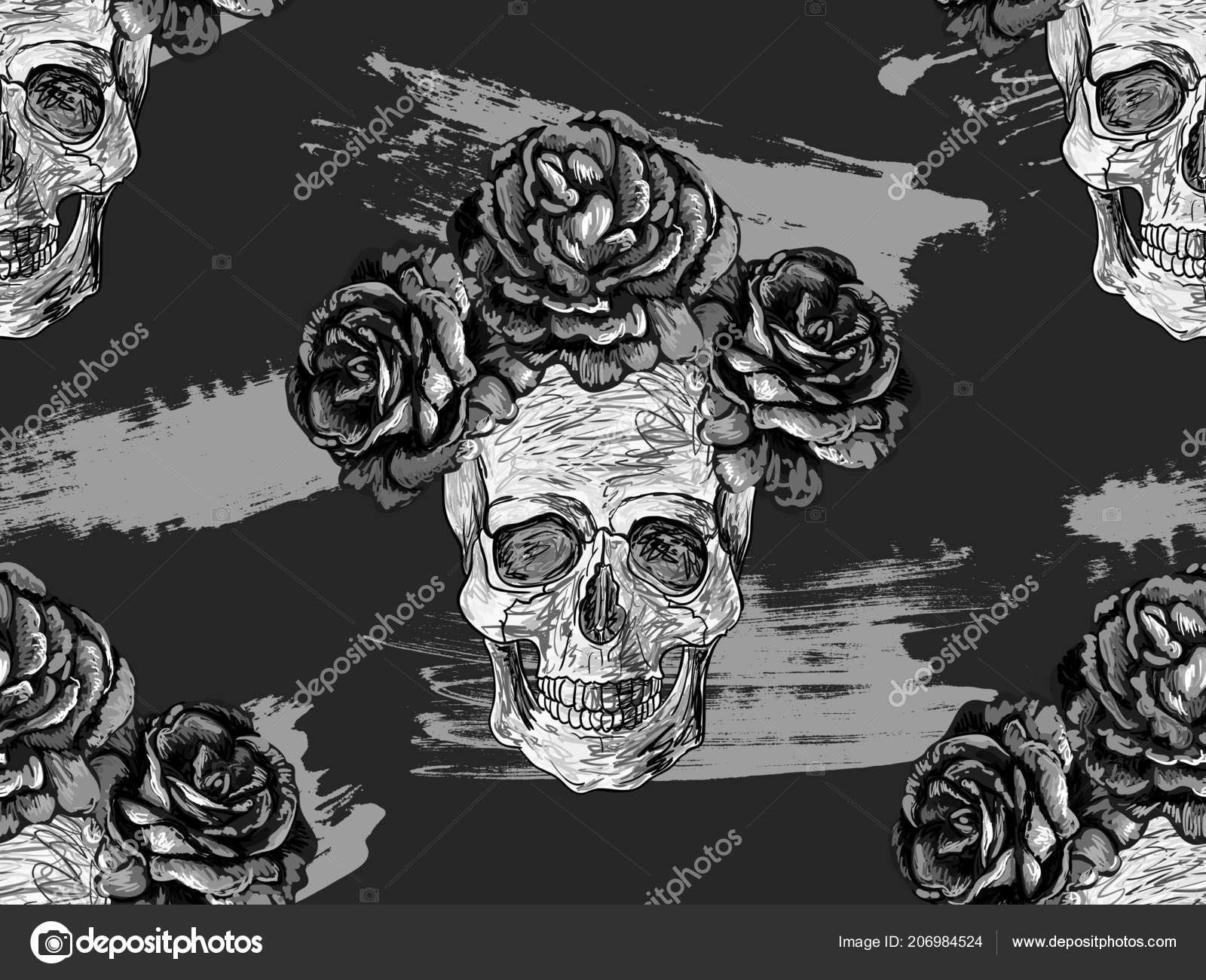 Skulls And Roses Wallpaper Black And White Seamless Black