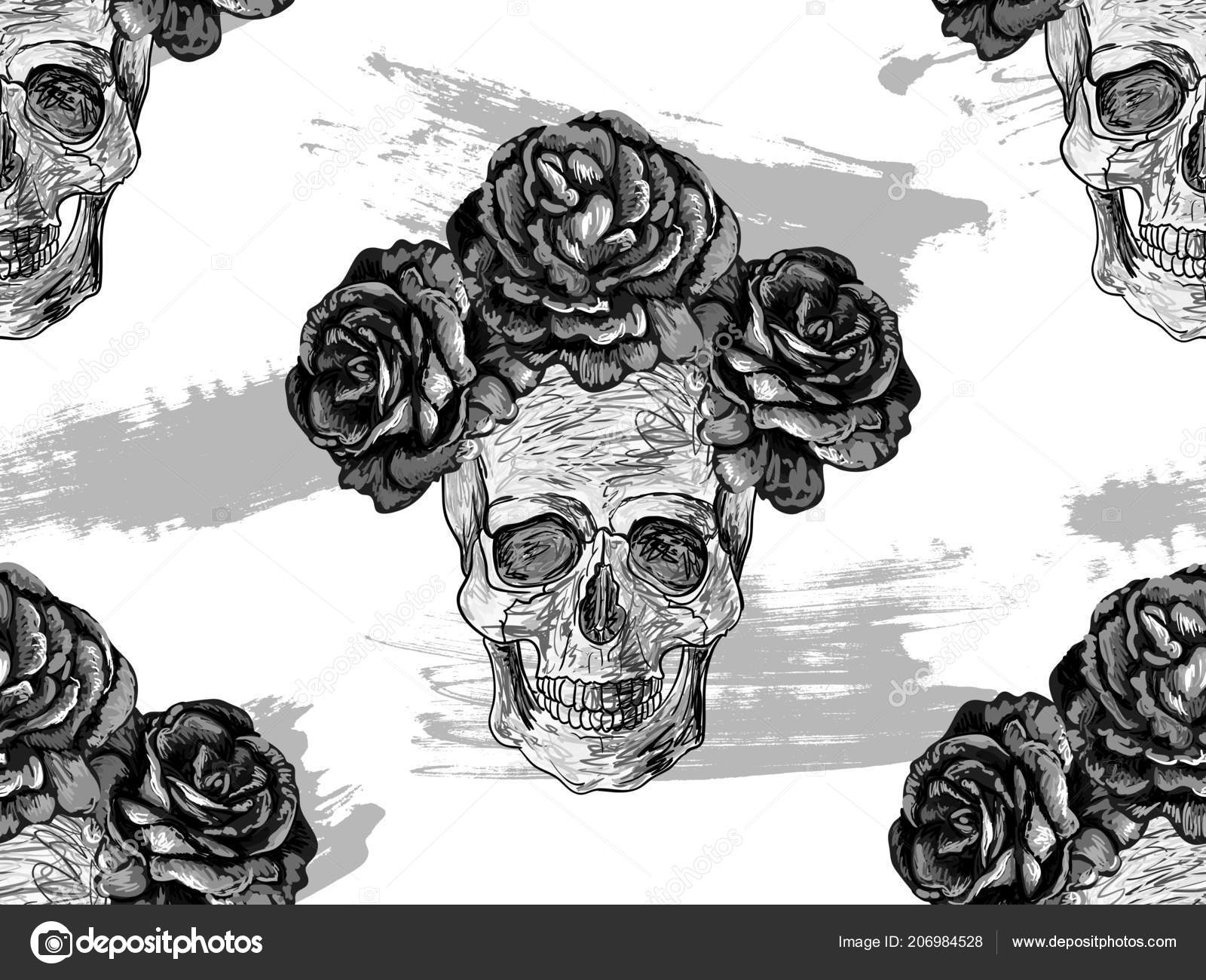 Seamless Black White Mexican Pattern Skulls Roses Rose