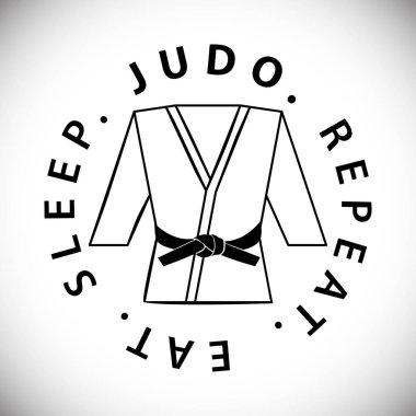 Eat. Sleep. Judo. Repeat. Karate Black Belt on White Uniform. Karate or judo uniform gi with black belt. Kimono. Karate suit vector illustration
