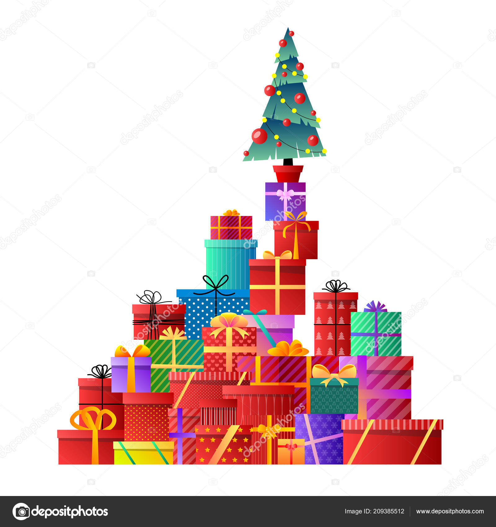 merry christmas christmas tree gifts xmas celebration decorated christmas tree with gift boxes balls and lamps gifts with bows and ribbons