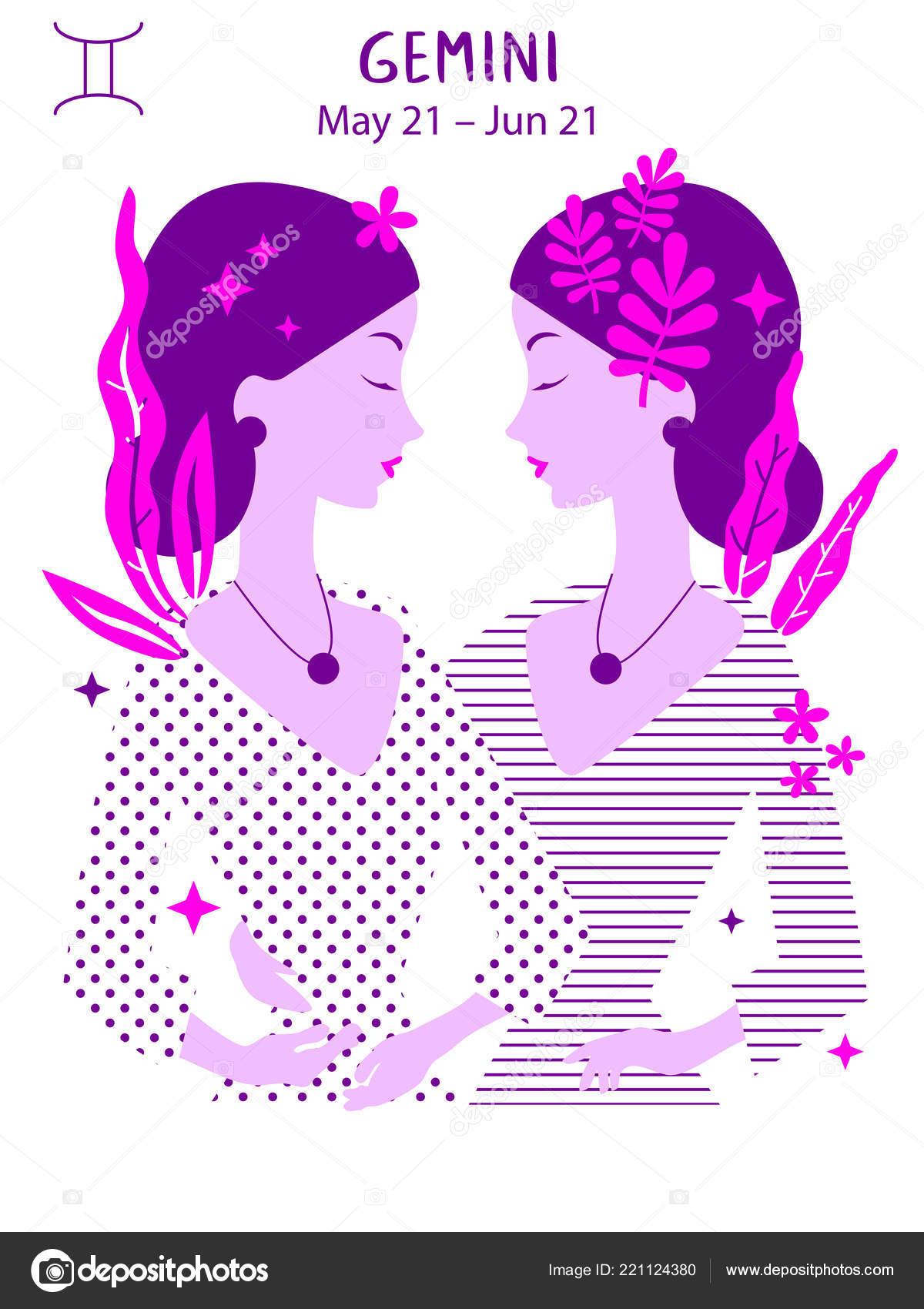 Gemini Zodiac Sign Girl Vector Illustration Astrology Zodiac
