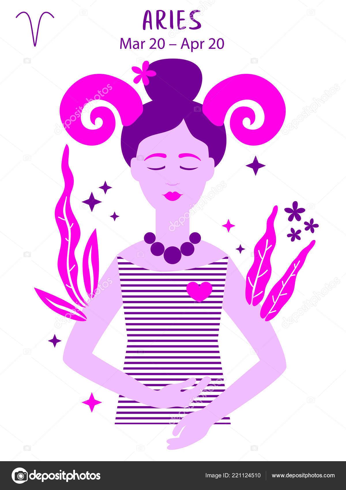 Aries Zodiac Sign Girl Vector Illustration Astrology Zodiac Profile