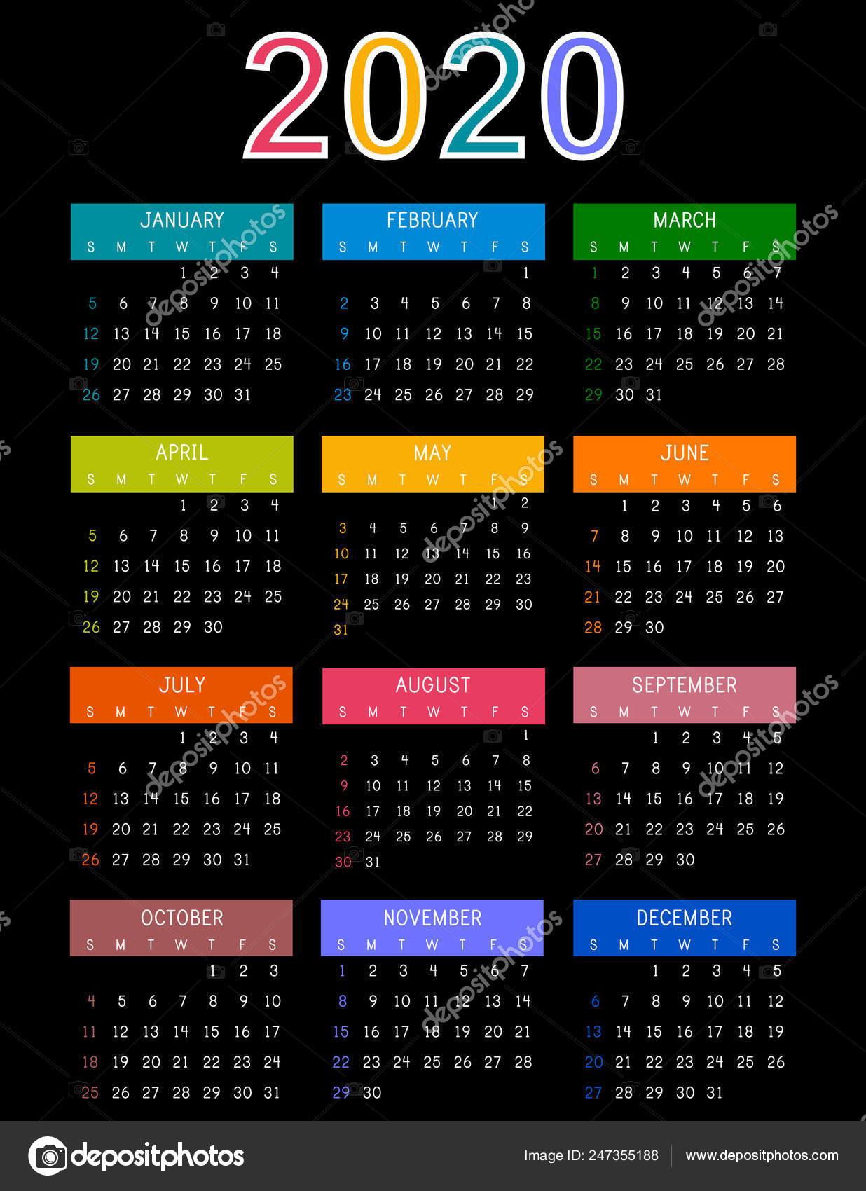 Modele De Calendrier 2020.Calendrier 2020 Sur Fond Sombre Calendrier Colore Annee 2020