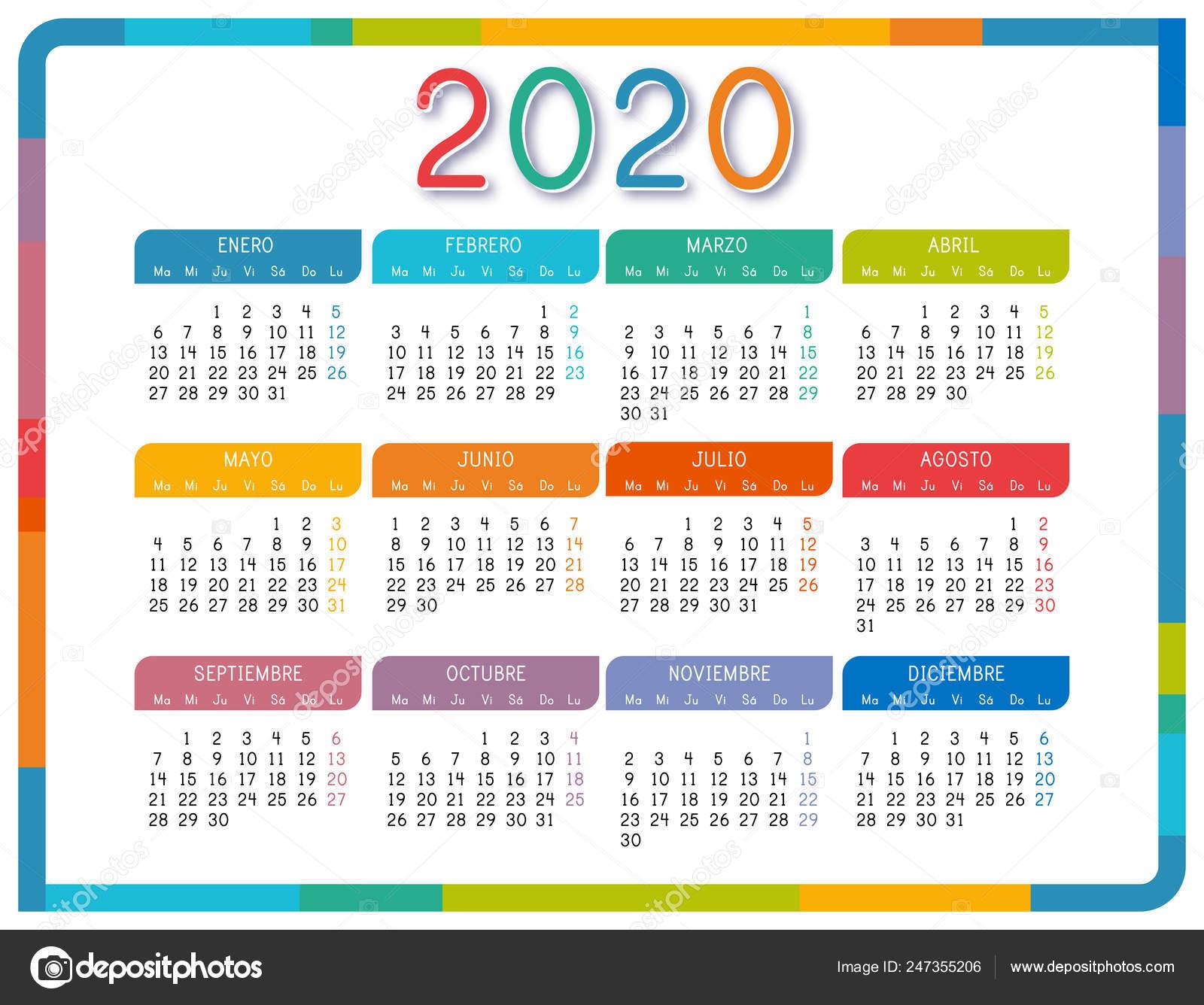 Calendario Agosto 2020 Argentina.Calendario 2020 Espanol Sobre Fondo Blanco Colorido