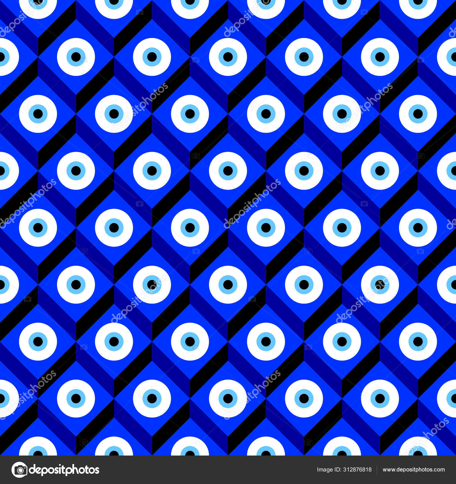 Seamless Pattern With Turkish Evil Eye Bead Good Luck